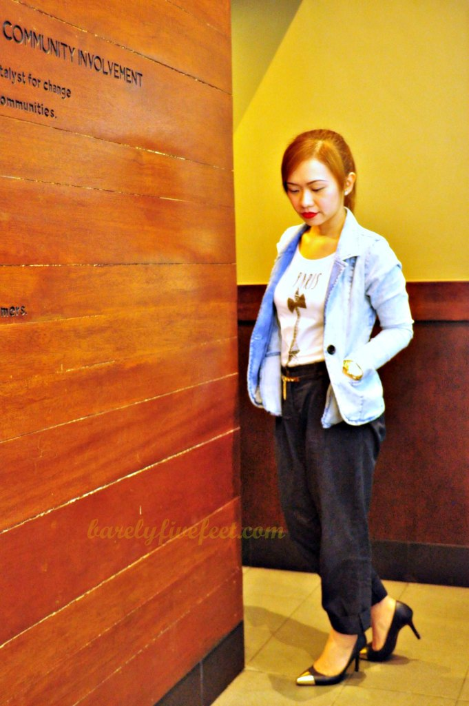 paris eiffel tower shirt denim blazer metal toe pumps
