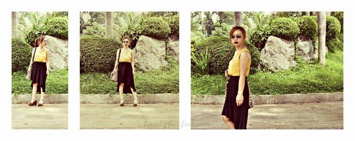 mullet skirt mustard top leopard wedges