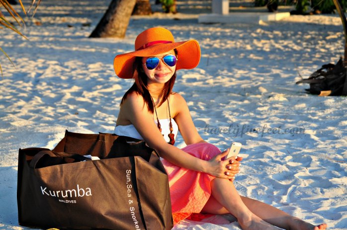 Maldives summer outfit flappy hat tube dress white sand