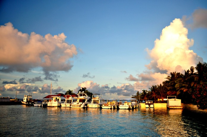 Kurumba Islandd Resort's docking area during sunrise