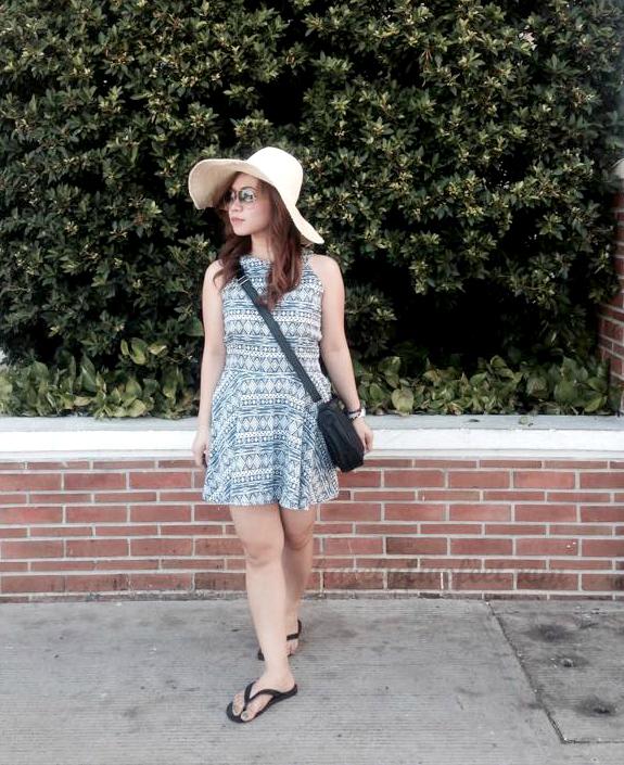 hat crossbody bag flipflops day dress aztec print